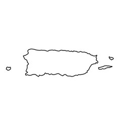 puerto rico map of black contour curves of vector image