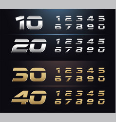 Regular and italic set metal number typography vector