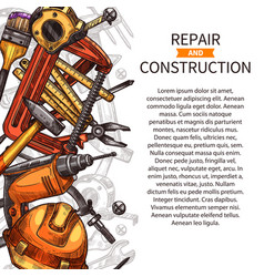 Repair and construction poster of work tools vector