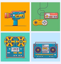 Retro gadgets from 90s in flat line style vintage vector