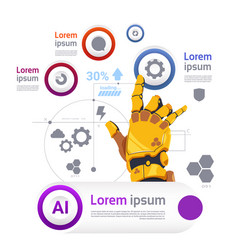 Robotic hand over template infographics banner vector