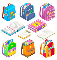 School supplies satchels and books bags set icon vector
