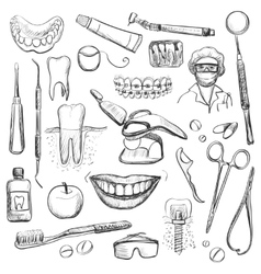Set dentist with different dental equipment vector