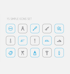 Set of 15 editable equipment outline icons vector