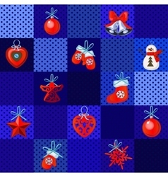 Set of Christmas red toys on a blue background vector image
