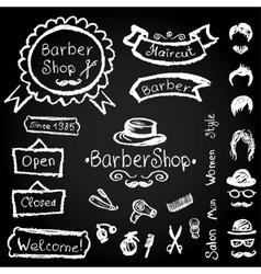 Set of design Barbershop hipster hairdresser vector