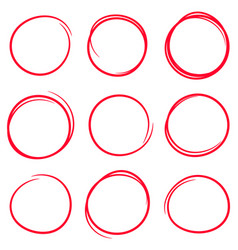 set of red hand drawn scribble circles vector image