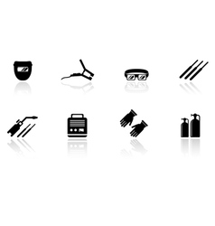 set of welding equipment icons vector image