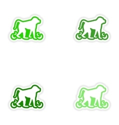 Set paper stickers on white background monkey vector