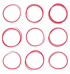 set red hand drawn scribble circles vector image