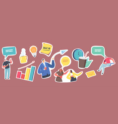 set stickers business meetup corporate employees vector image
