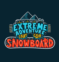 snowboard club poster extreme vector image
