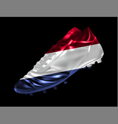 Soccer football boot with the flag of the vector
