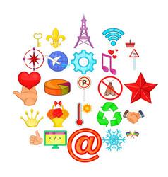 Specimen icons set cartoon style vector