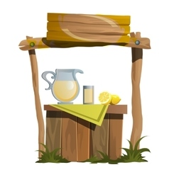 Stand on preparation and selling citrus drinks vector