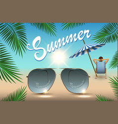 summer banner for promoting sale beach sunglasses vector image