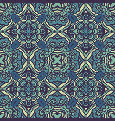 tribal blue vintage ethnic seamless pattern vector image