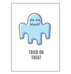 trick or treat greeting card with color icon vector image
