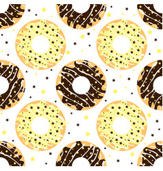 White and dark chocolate donuts vector