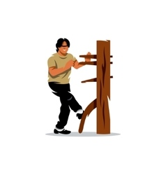 Wing Chun kung fu Man at a wooden dummy vector image