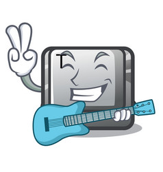 With guitar button t in keyboard cartoon vector