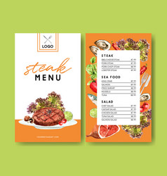 World food day menu design with steak meat vector