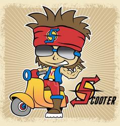 Young man scooter mania cartoon vector