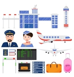 Airport aviation transport set vector image