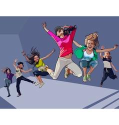 cartoon happy girls jumping vector image vector image