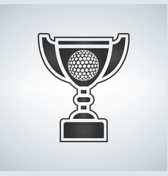 golf trophy cup award icon in flat style vector image vector image