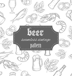 hand drawn seamless beer vintage pattern with vector image