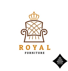 Linear style furniture logo with crown vector image vector image