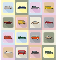 old retro transport flat icons 20 vector image vector image