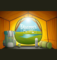 Discover the world poster view from inside a tent vector