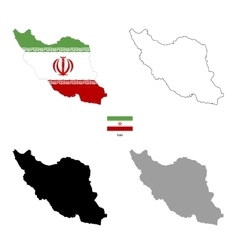 Iran country black silhouette and with flag on vector image vector image