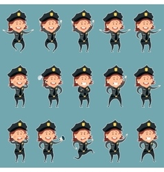 Set of police women flat icons3 vector image vector image