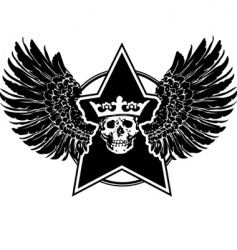 wings skull and star sign vector image vector image