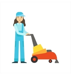 Womoan Using High-Tech Hoover Cleaning Service vector image vector image