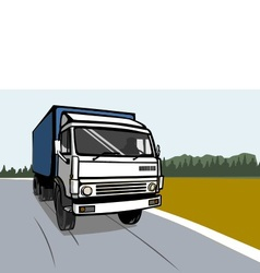 cargo truck on the road vector image vector image