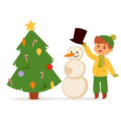 christmas kids character playing winter vector image
