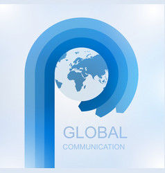 global communication with arrow in circle around vector image