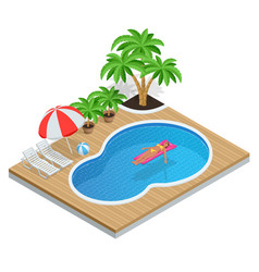 isometric aqua park with water pool vector image