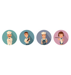 set icon character cook waiter chef waitress vector image vector image