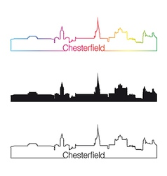 Chesterfield skyline linear style with rainbow vector image vector image