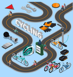 cycling isometric composition vector image