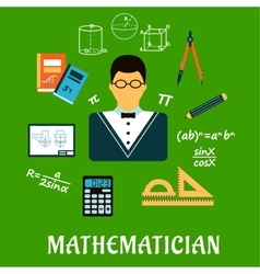 Mathematician or teacher with education objects vector image vector image