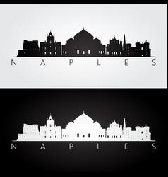 naples skyline and landmarks silhouette vector image