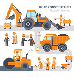 road construction infographic elements flat vector image