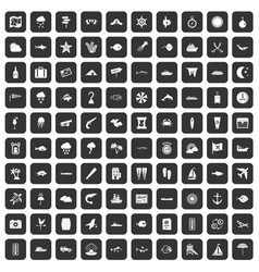 100 marine environment icons set black vector