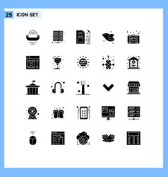 25 universal solid glyphs set for web and mobile vector